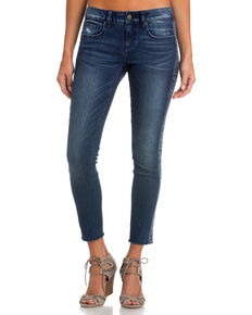 Miss Me Women's Side by Side Mid-Rise Ankle Skinny Jeans , Indigo, hi-res