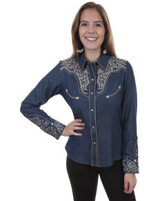 Scully Women's Vine Embroidered Long Sleeve Western Shirt, Blue, hi-res