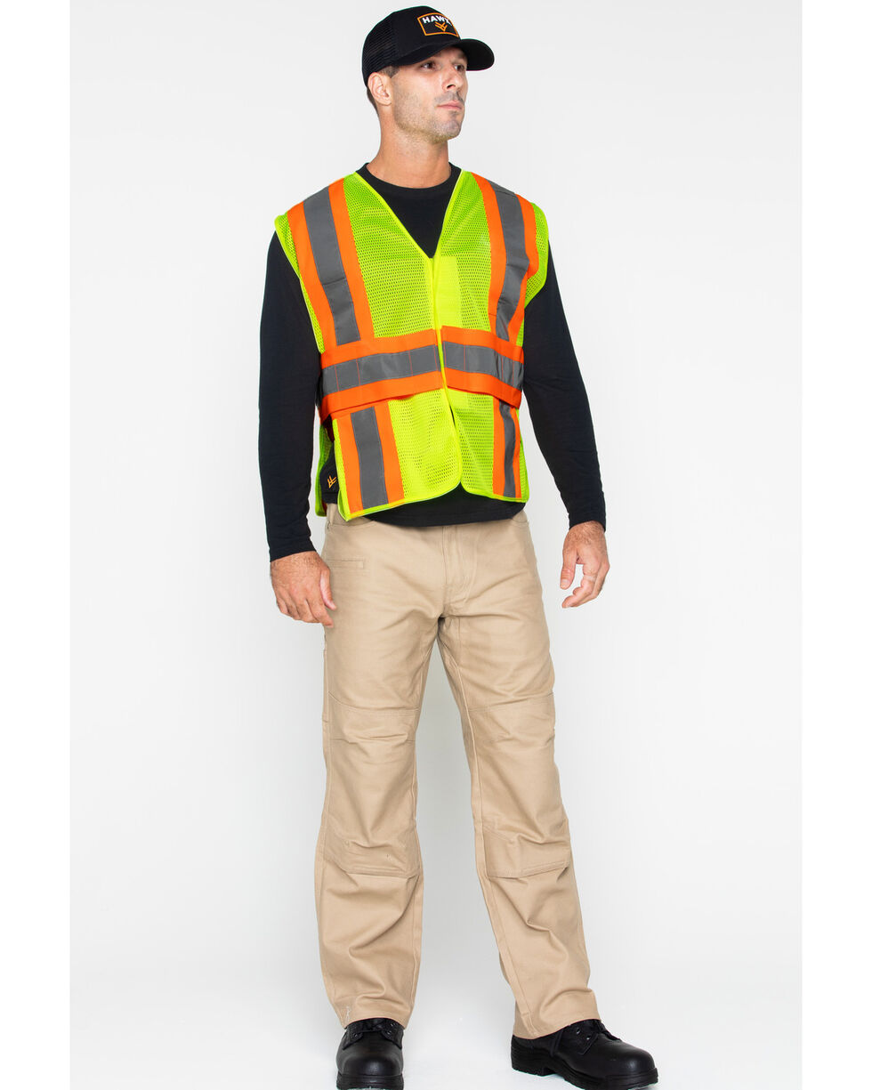 Hawx® Men's 2-Tone Mesh Work Vest, Yellow, hi-res