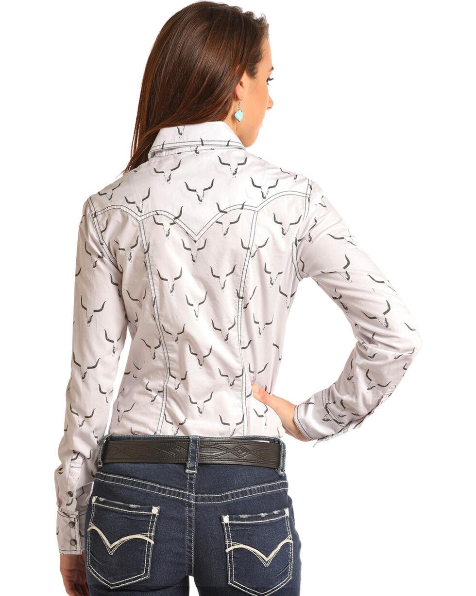 Rock & Roll Cowgirl Women's Steer Skull Long Sleeve Snap Shirt, White, hi-res