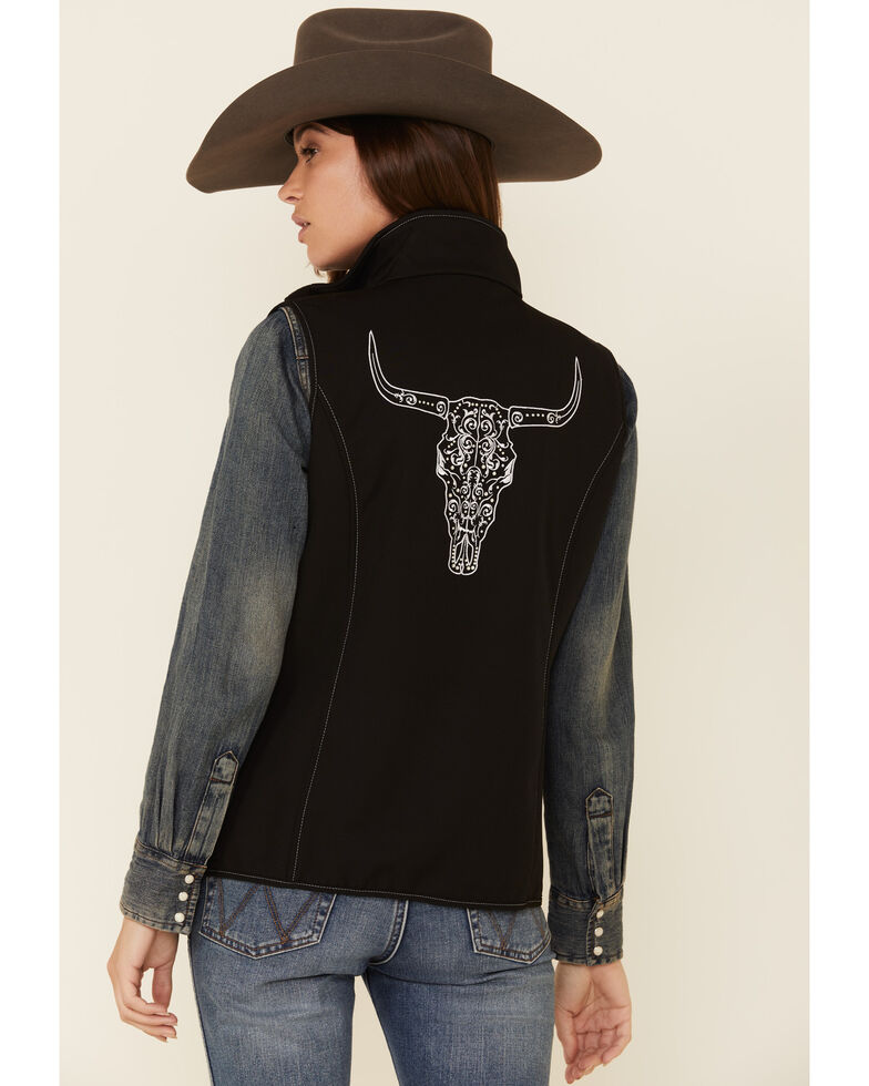 Cowboy Hardware Women's Black Steer Head Embroidered Softshell Vest, Black, hi-res