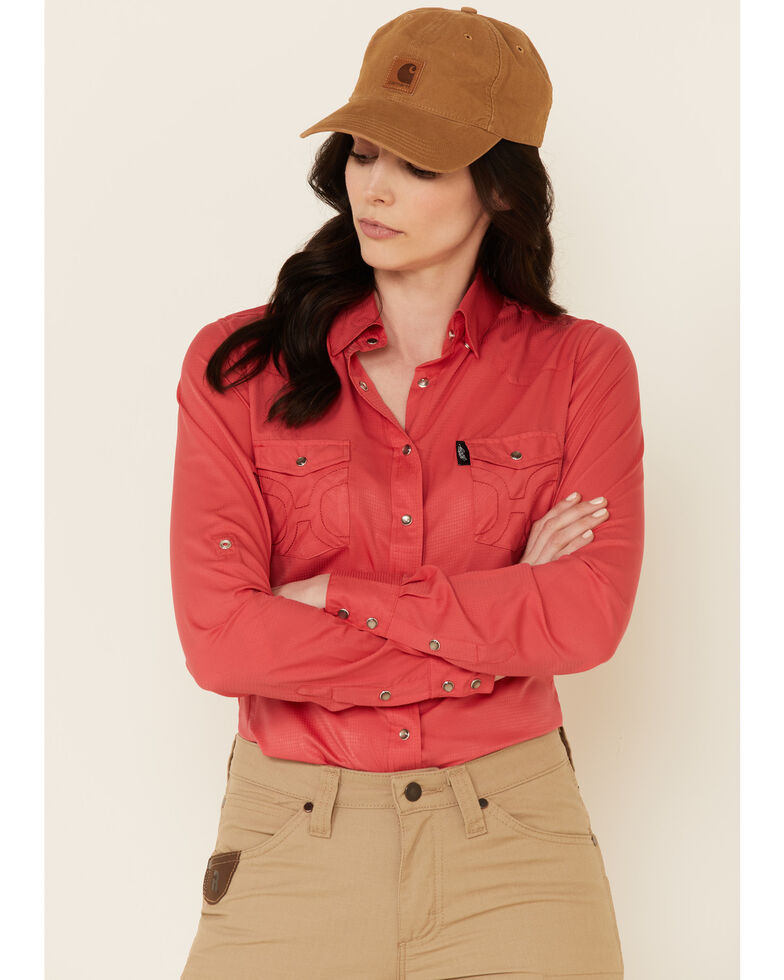HOOey Women's Solid Watermelon Habitat Sol Long Sleeve Snap Western Core Shirt , Coral, hi-res