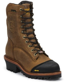 Chippewa Men's Grimstad Golden Waterproof Logger Boots - Composite Toe, Brown, hi-res
