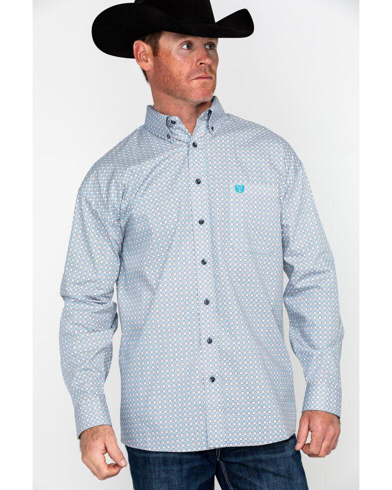Panhandle Select Men's Grey Peached Poplin Print Long Sleeve Western Shirt , Grey, hi-res