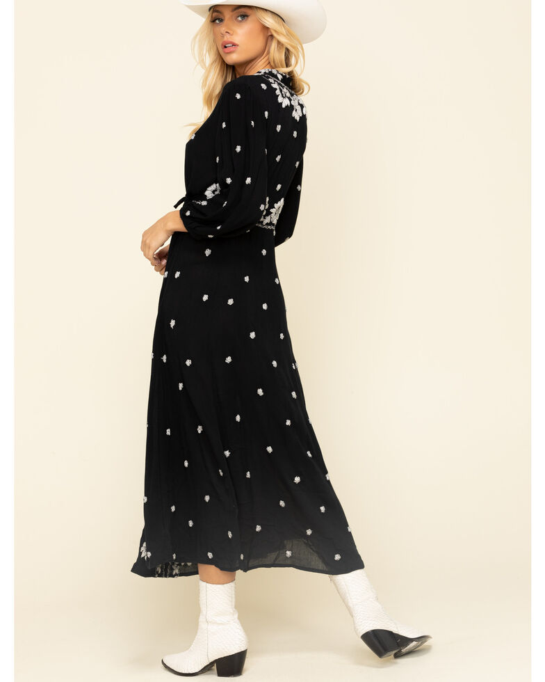 Free People Women's Embroidered V Maxi Dress , Black, hi-res