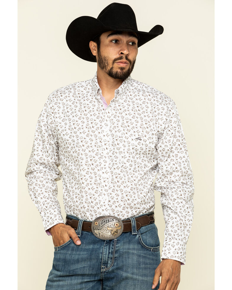 Resistol Men's White Palmetto Floral Print Long Sleeve Western Shirt , White, hi-res