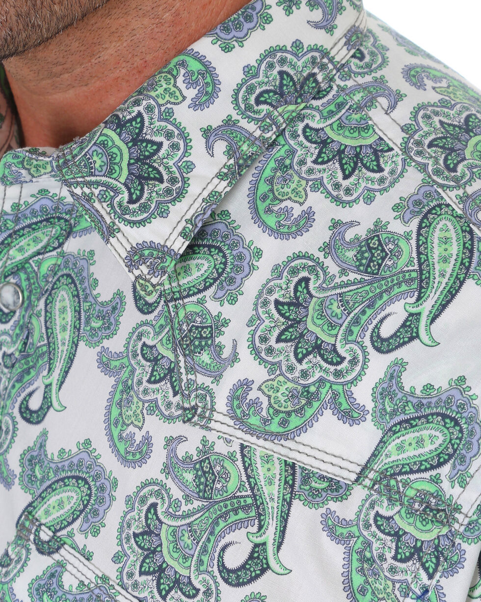 Wrangler 20x Men's Green Paisley Competition Advanced Comfort Long Sleeve Western Shirt , Green, hi-res