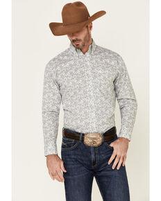George Strait By Wrangler Men's White Paisley Printed Long Sleeve Western Shirt , White, hi-res