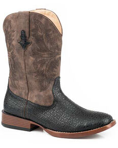 Roper Men's Roderick Western Boots - Square Toe, Black, hi-res