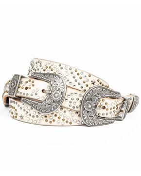 Idyllwind Women's Vegas Double Stud Belt, White, hi-res