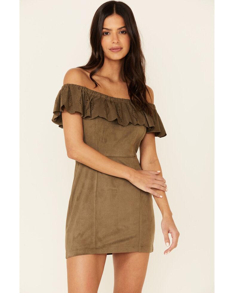 Shyanne Women's Off-Shoulder Olive Faux Suede Dress, Olive, hi-res