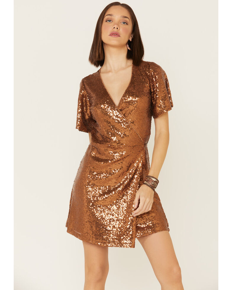 Rock & Roll Denim Women's Rust Sequin Wrap Dress, Rust Copper, hi-res