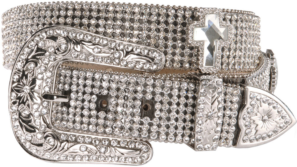 Nocona Rhinestone Cross Buckle Belt, White, hi-res