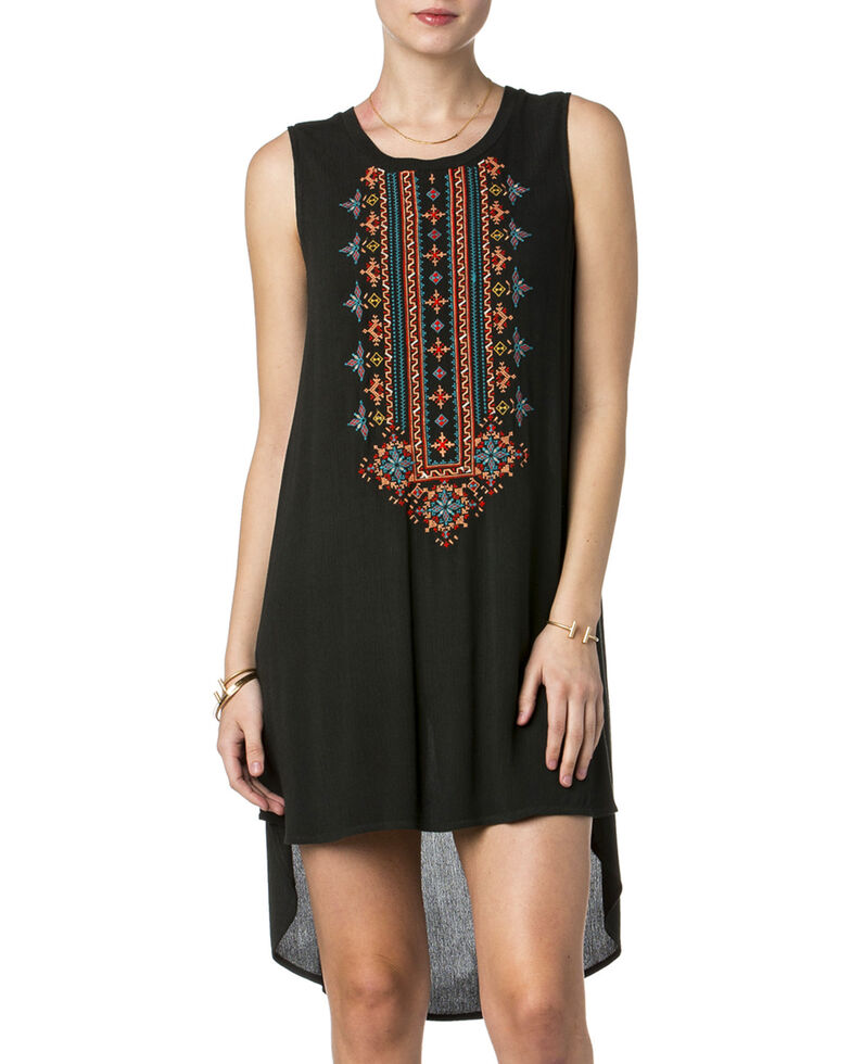 Miss Me Women's Just Right Embroidered High-Low Tank Dress, Charcoal, hi-res