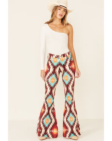 Ranch Dress'n Women's Aztec Print Super Flare Leg Jeans, Multi, hi-res