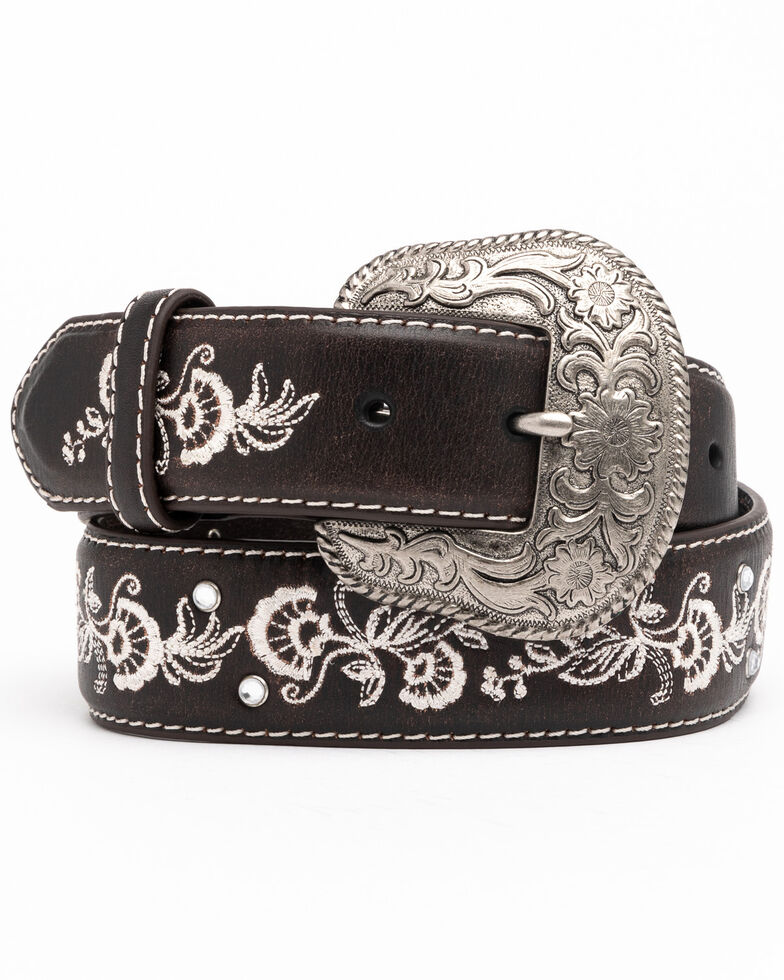 Shyanne Women's Chocolate Floral Embroidered Crystal Western Belt , Chocolate, hi-res