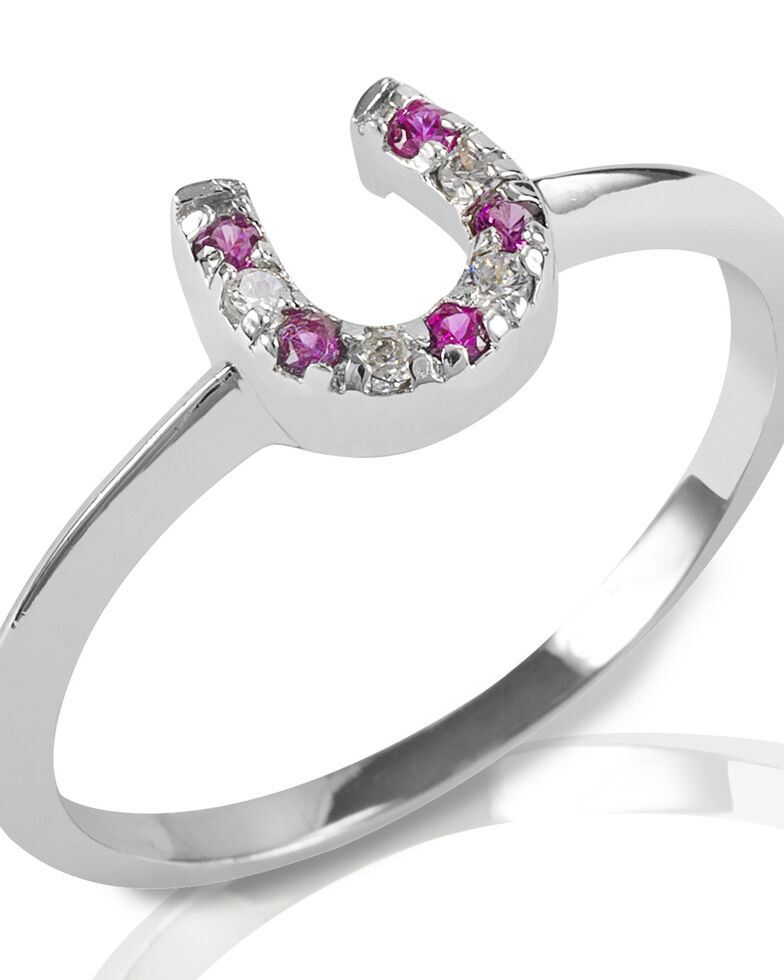 Kelly Herd Women's Red & Clear Horseshoe Ring, Silver, hi-res