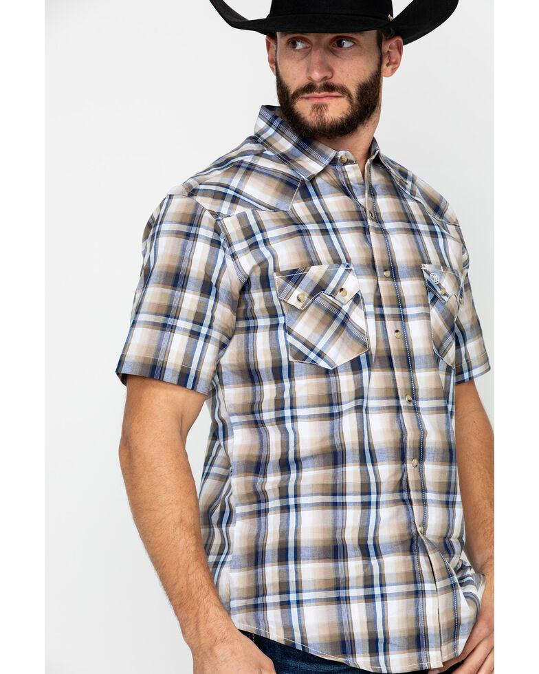 Wrangler Retro Men's Multi Plaid Short Sleeve Western Shirt, Brown/blue, hi-res
