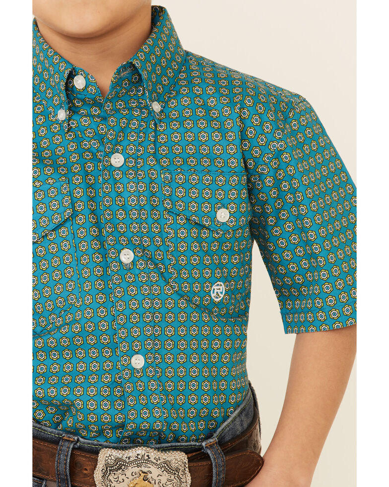 Amarillo Boys' Sweet Water Teal Geo Print Short Sleeve Button-Down Western Shirt , Teal, hi-res