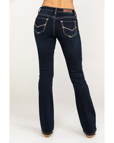 Rock & Roll Cowgirl Women's Dark Vintage Wash Basic Bootcut Jeans, Blue, hi-res