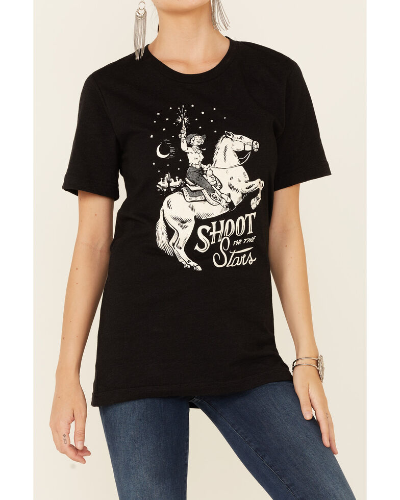 Ali Dee Women's Shoot For The Stars Graphic Short Sleeve Tee , Black, hi-res