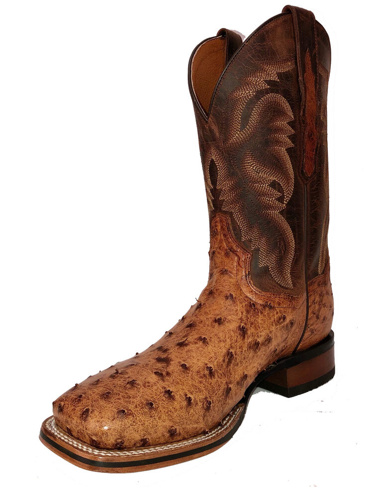 Dan Post Men's Brown Ostrich Western Boots - Wide Square Toe, Brown, hi-res