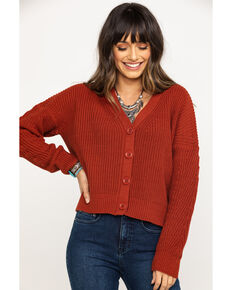 Others Follow Women's Rust Rosegol Crop Cardigan   , Rust Copper, hi-res