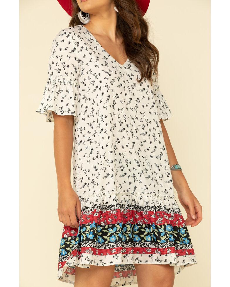 Studio West Women's Tiered Border Print Dress, White, hi-res