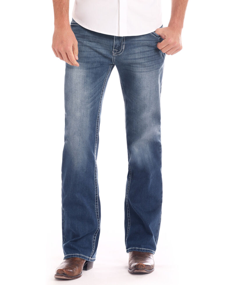 Rock & Roll Cowboy Men's Small V Embroidered Reflex Bootcut Jeans , Dark Blue, hi-res