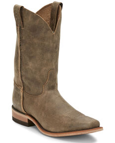 Justin Men's Ryder Distressed Brown Western Boots - Square Toe, Brown, hi-res