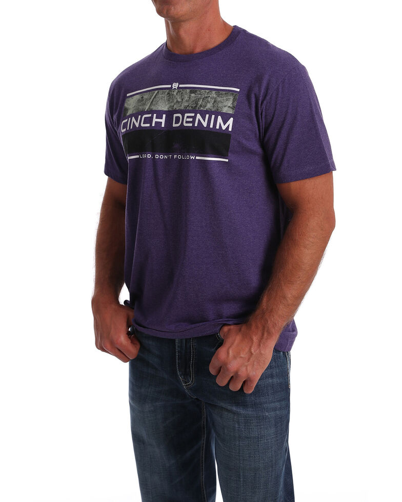 Cinch Men's Heather Purple Logo Bar Graphic Short Sleeve T-Shirt , Multi, hi-res