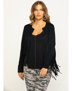 Idyllwind Women's Blue Grass Fringe Jacket, Black, hi-res