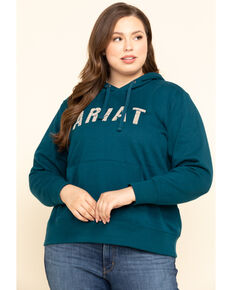 Ariat Women's R.E.A.L. Dream Teal Logo Hoodie - Plus, Teal, hi-res