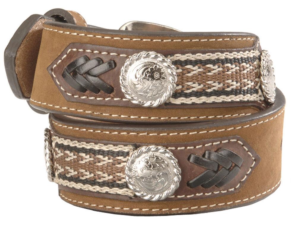 Nocona Kids' Ribbon Overlay & Laced Belt - 18-28, Brown, hi-res