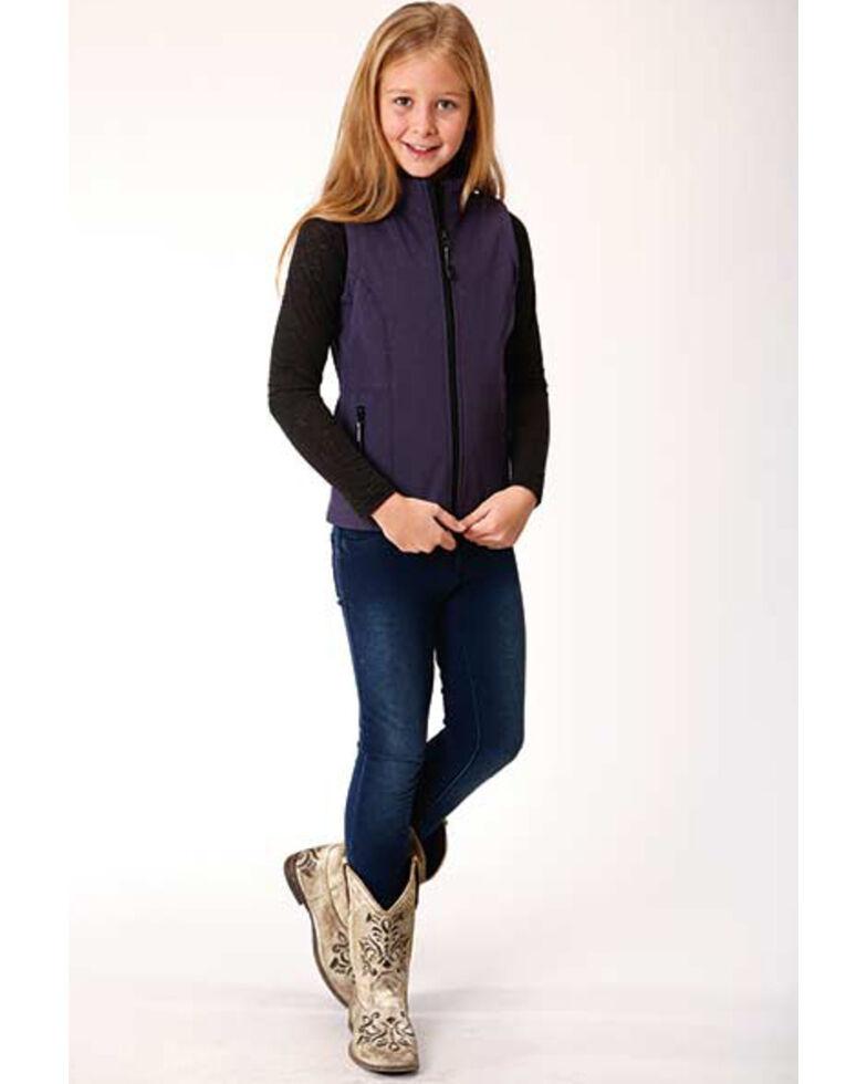 Roper Girls' Purple Soft Shell Fleece Vest, Purple, hi-res