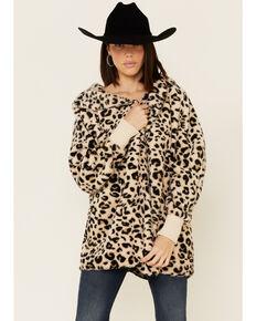 Hem & Thread Women's Tan Leopard Print Sherpa Lined Hooded Jacket , Tan, hi-res