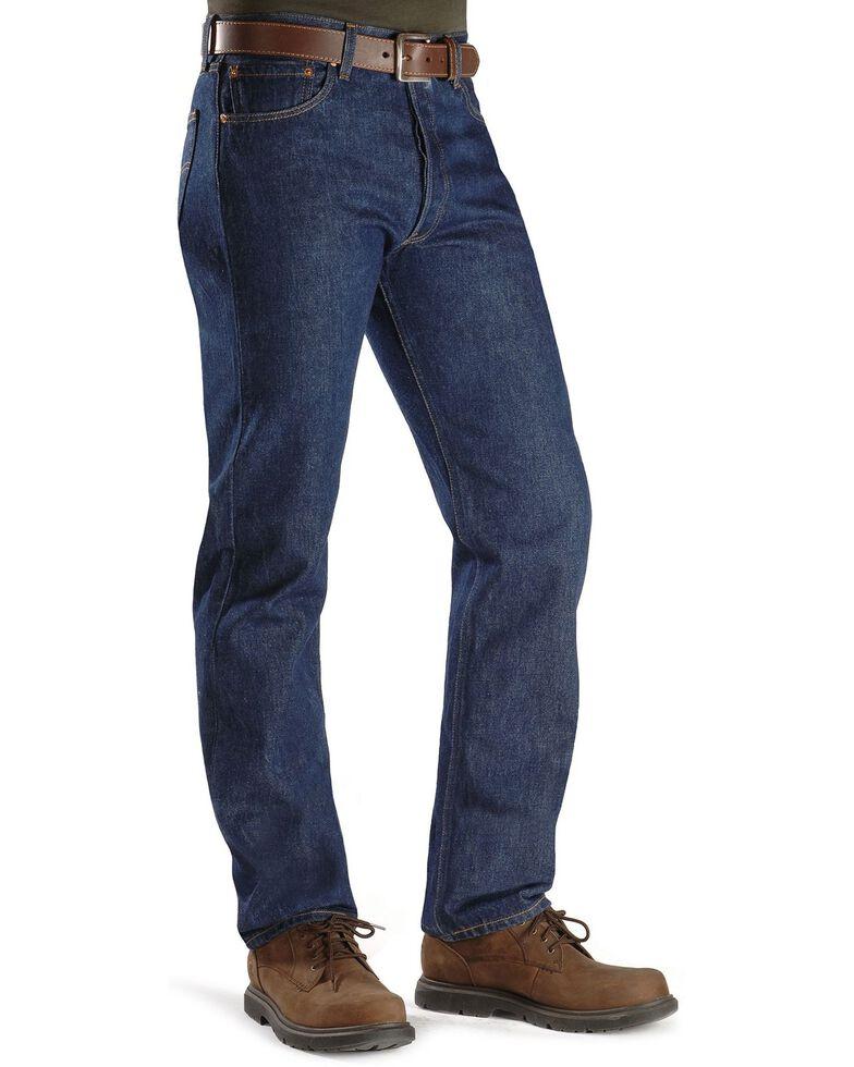 Levi's Men's 501 Original Shrink-to-Fit Regular Straight Leg Jeans - Big, Indigo, hi-res