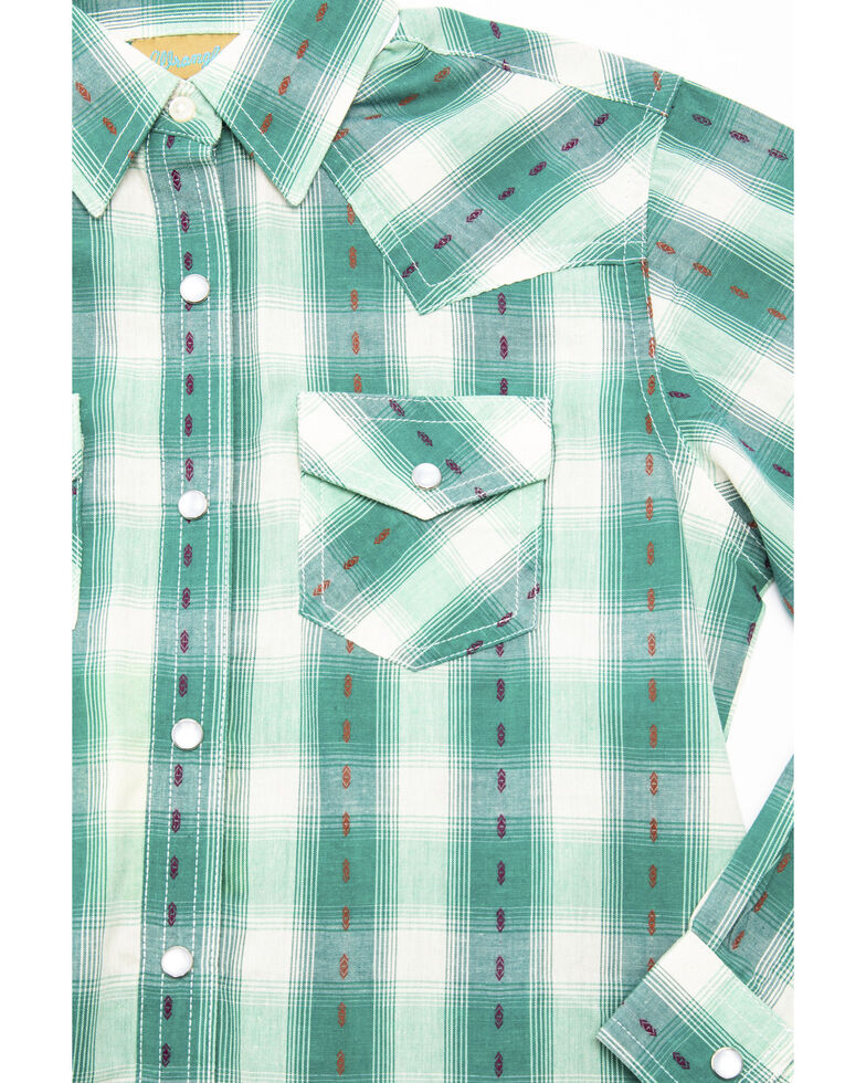 Wrangler Girls' Turquoise Dobby Plaid Long Sleeve Shirt, Turquoise, hi-res