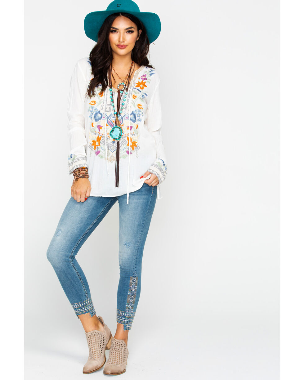 Johnny Was Women's Oaklyn Blouse, White, hi-res