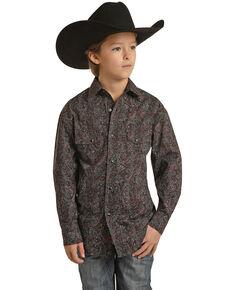 Rock & Roll Denim Boys' Dark Red Paisley Print Long Sleeve Snap Western Shirt , Dark Red, hi-res