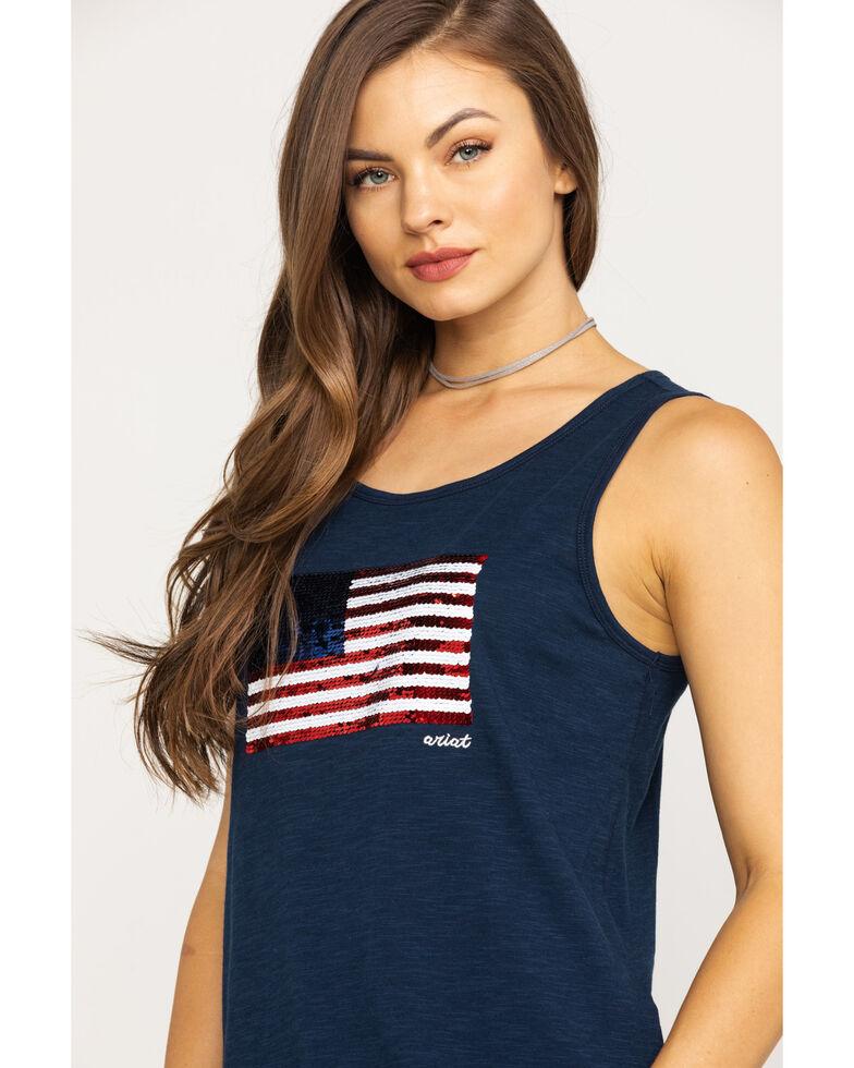Ariat Women's Sequin Flag Tank, Navy, hi-res