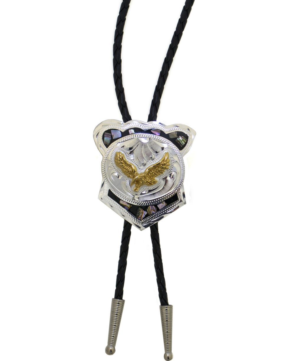 Western Express Men's German Silver Abalone Eagle Bolo Tie, Silver, hi-res
