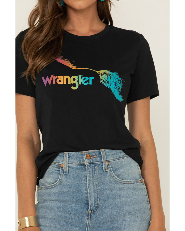 Wrangler Retro Women's Black Logo Graphic Fitted Tee , Black, hi-res