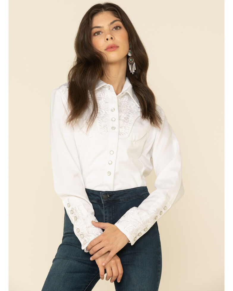 Scully Women's Floral Embroidered Western Shirt, White, hi-res