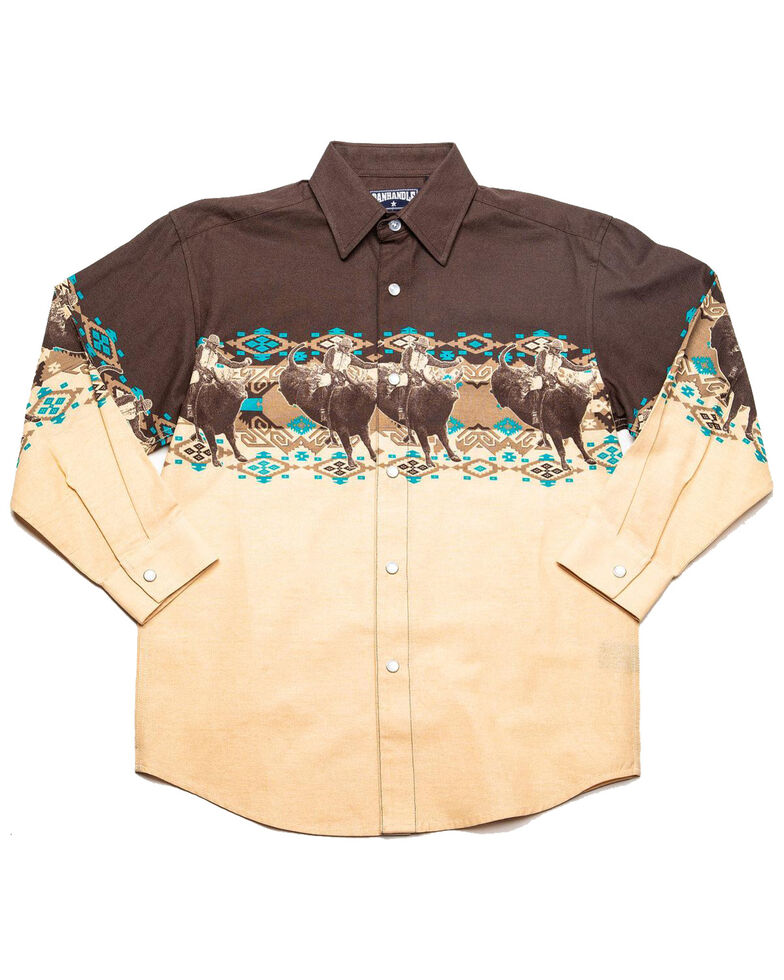 Panhandle Boys' Rodeo Aztec Border Print Long Sleeve Western Shirt , Brown, hi-res