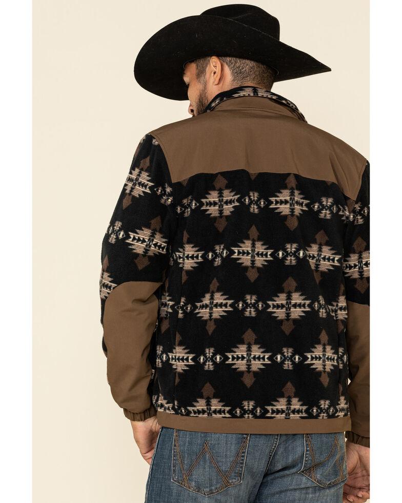HOOey Men's Brown Aztec Color Blocked Zip-Up Fleece Jacket , Brown, hi-res
