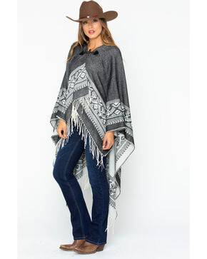 Shyanne Women's Grey Hooded Poncho With Toggle, Black, hi-res