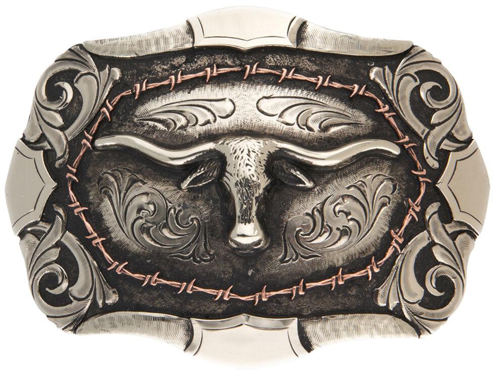 AndWest Bryce Vintage Two-Tone Steer Head Belt Buckle, Silver, hi-res