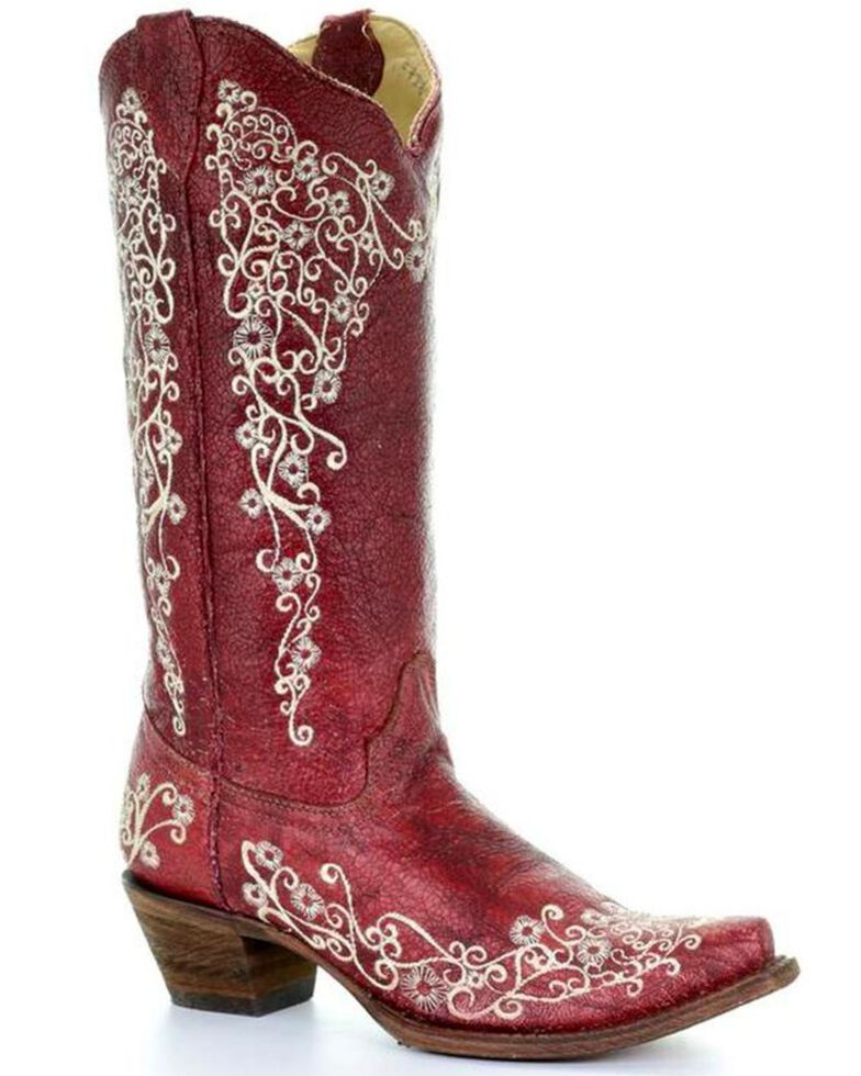 Corral Women S Red Embroidery Boots Snip Toe Country