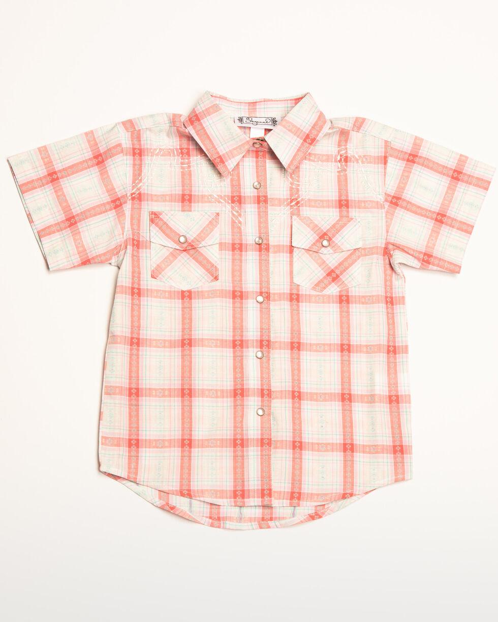 Shyanne Girls' Plaid Woven Short Sleeve Shirt, Ivory, hi-res